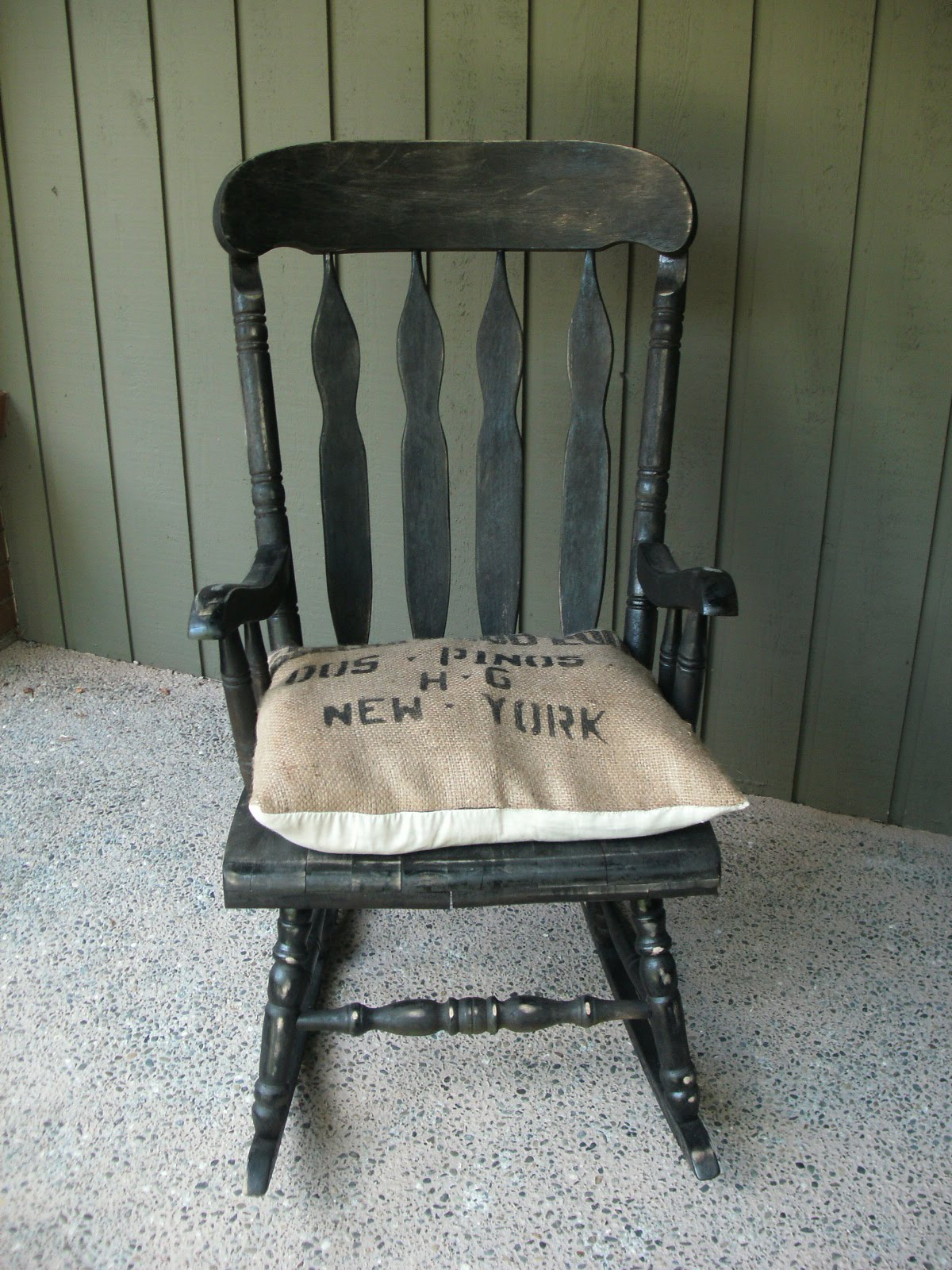 rocking bag chair handicapped shower a touch of mink burlap coffee cushion rocker sold