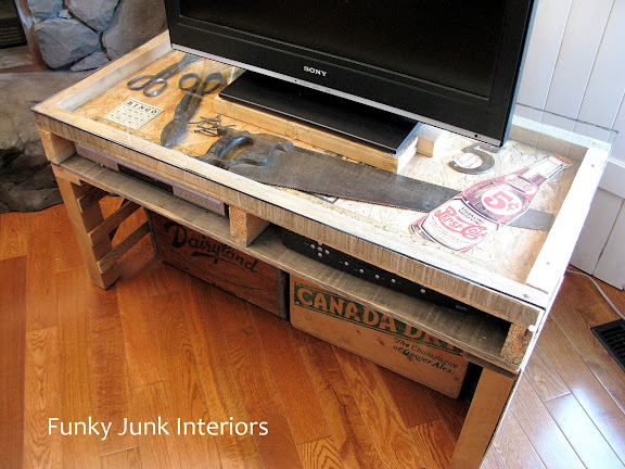 Building a pallet tv stand with reclaimed wood and a glass top