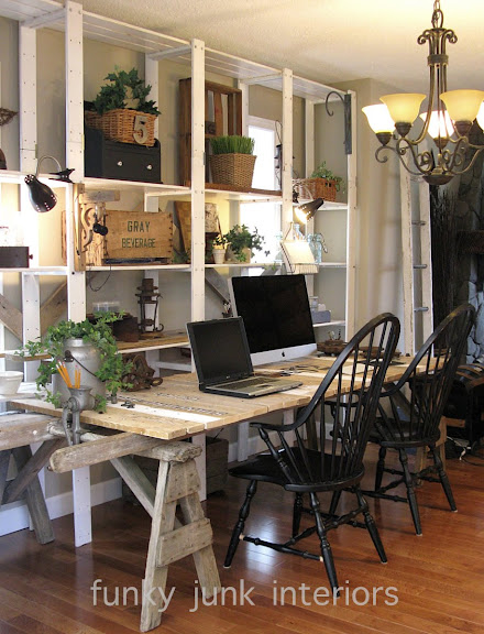 Pallet wood sawhorse ladder junk styled blogging desk via Funky Junk Interiors