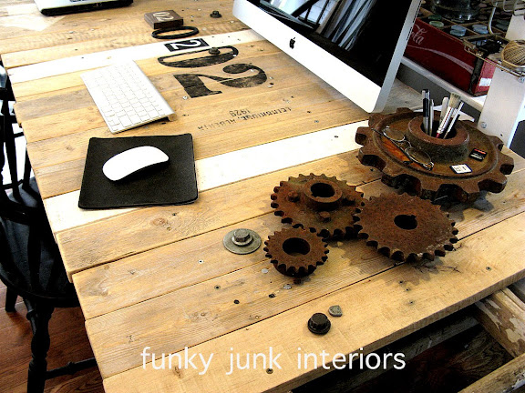 Pallet wood sawhorse ladder junk styled blogging desk via Funky Junk Interiors