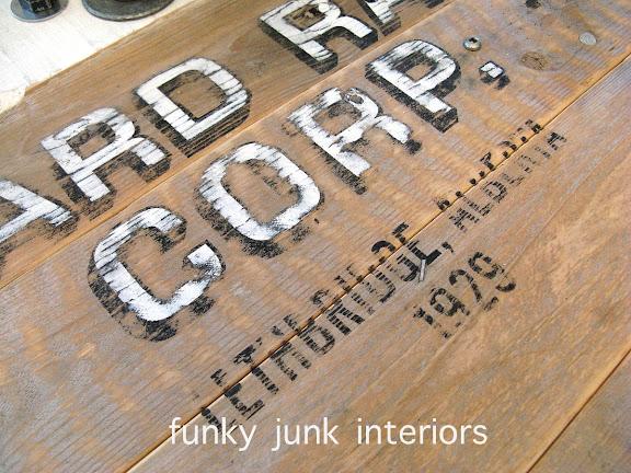 Old signs on pallet wood sawhorse ladder junk styled blogging desk via Funky Junk Interiors