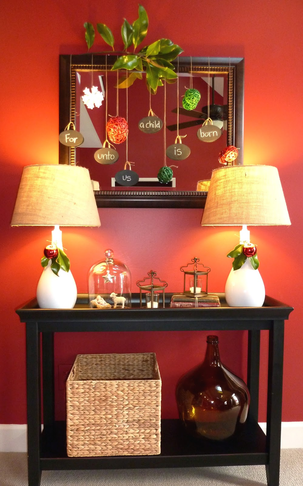 Simple christmas vignette our fifth house for Console table decor ideas