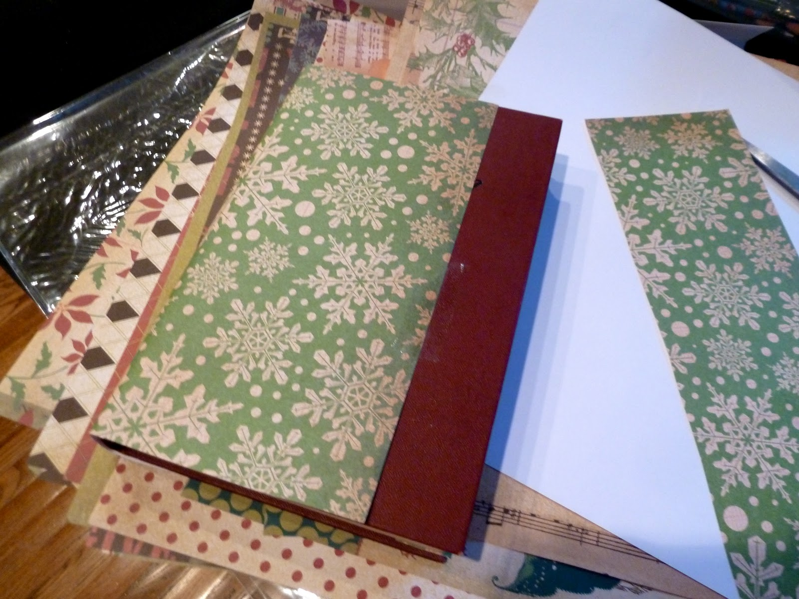 Scrapbook paper books - I Grabbed Some Scissors And Tape And Wrapped The Outside Of Each Book With A Piece Of Scrapbook Paper
