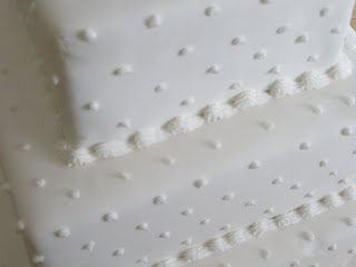 Closeup of Pearls and Dots on Wedding Cake