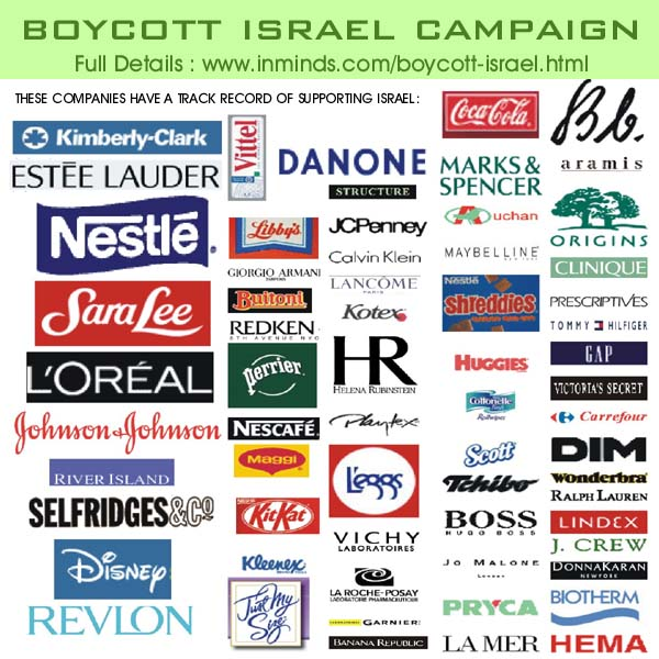 Boycott Israel... stop the pogroms against the Palestinian people...