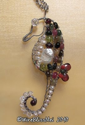 wire wrapped seahorse with multi stones