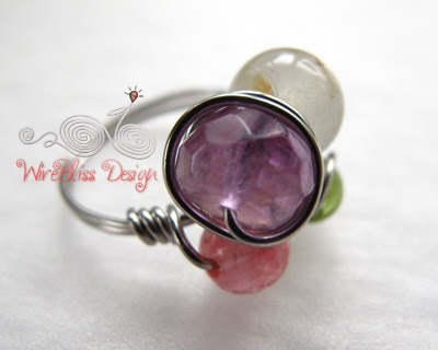 wire wrapped furity ring with mixed gemstones -Amethyst