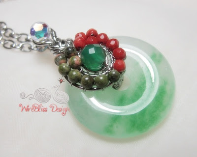 Wire Wrapped Jade Donut Pendant, Chinese Pipa