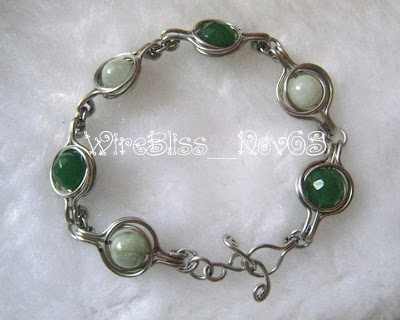 Wire Wrapped Twice Around the World (TAW) Bracelet with green agate and jade