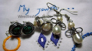 wire wrapped turquoise bird nest ring and pearl earrings and