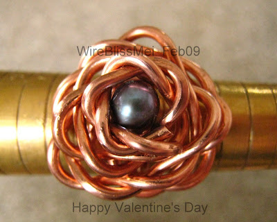 Wire wrapped rose ring with copper wire and pearl focal