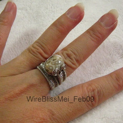 Adjustable Wire Woven Jasper Ring around my finger