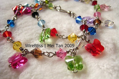 wire wrapped sparkly crystal bracelets