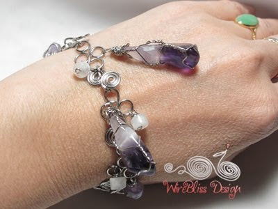 basic wire wrapped shapes with Amethyst