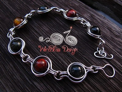 Twice Around the World (TAW) Wire Wrap Bracelets with tri-color tiger eyes