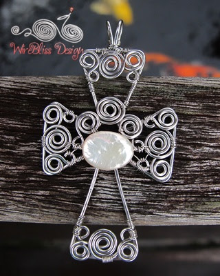 Wire Wrapped Swirly Cross Pendant