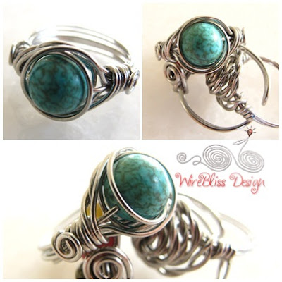 Twice Around the World (TAW) Wire Wrap Ring (Turquoise)