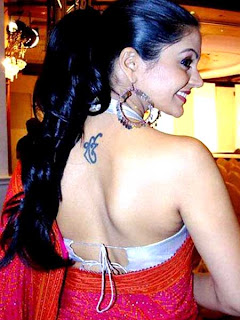 Mandira bedi back tattoo