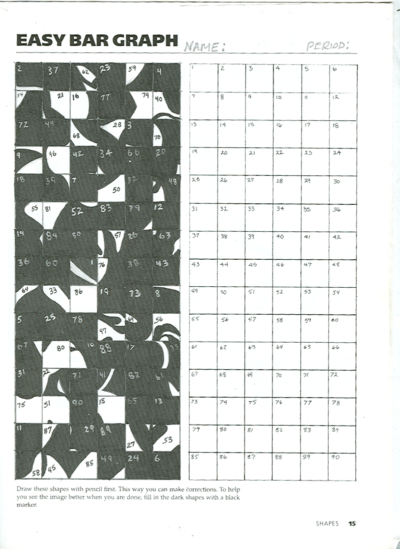 This is a photo of Challenger Mystery Grid Drawing