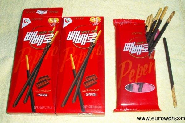 Cajas de peperos coreanos