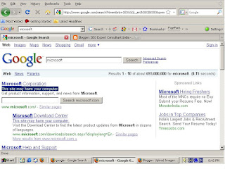 Snap Shot for Google Result on Keyword Microsoft