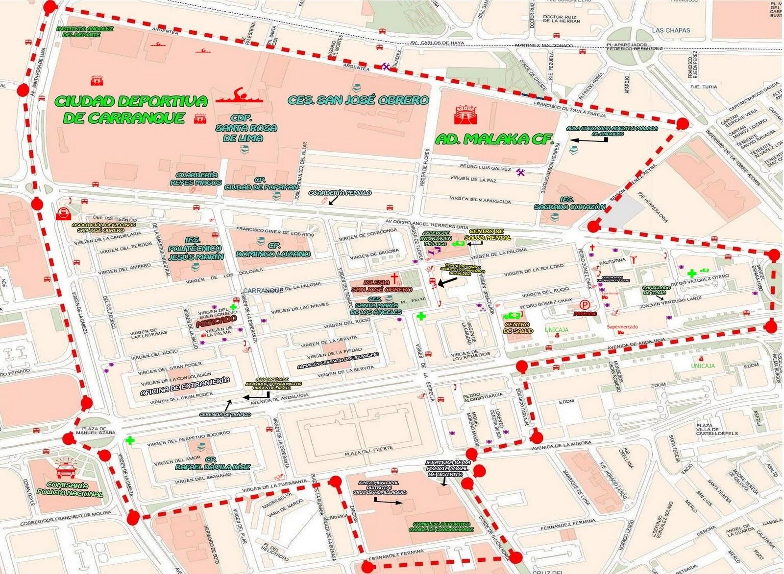 Mapa De Malaga Capital Por Barrios.Mapas Barriada Carranque