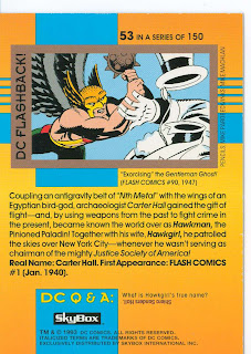DC Cosmic Teams Hawkman card back.  Also: Gentleman Ghost!