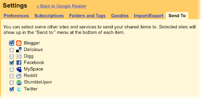 Send to tab on the settings page