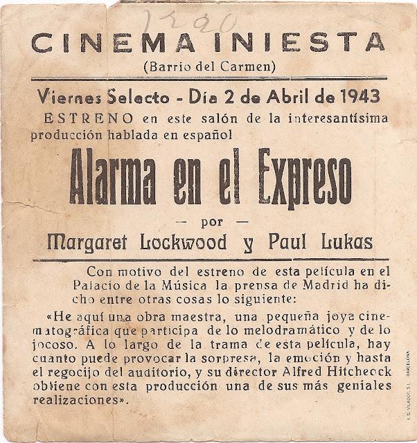 Programa de Cine - Alarma en el Expreso - Margaret Lockwood - Michael Redgrave