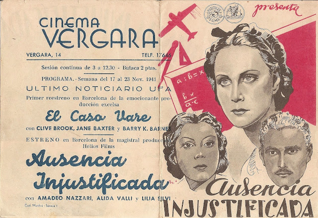 Ausencia Injustificada - Folleto de mano - Alida Valli - Amadeo Nazzari