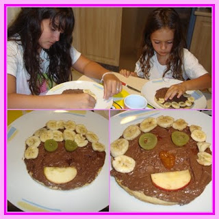 Pizza de chocolate com frutas