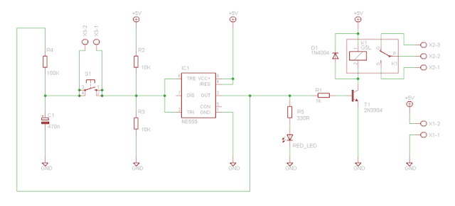 toggle switch using 555 build circuit