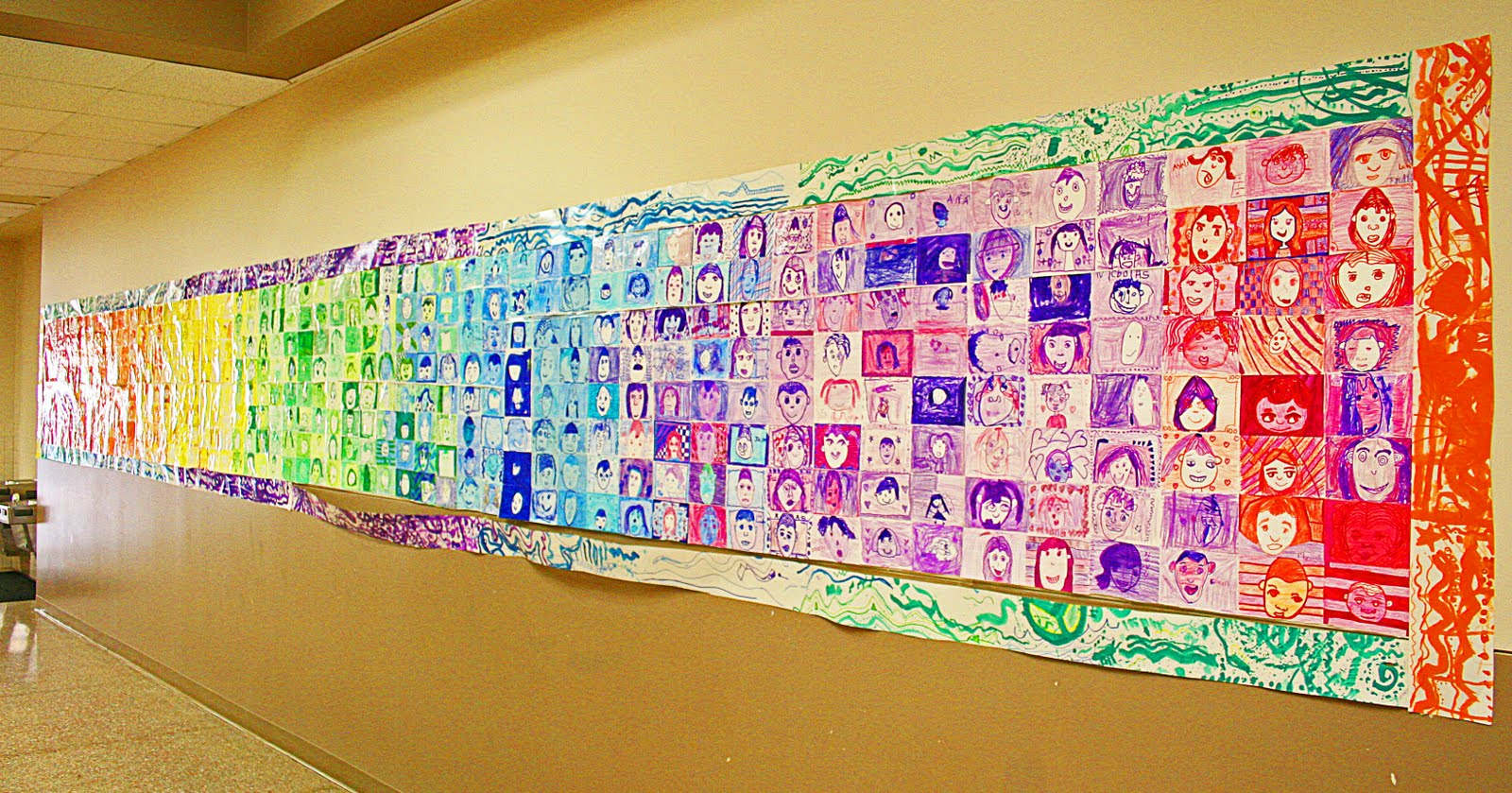 I Glued All The Index Cardstogether On A Looooooong Piece Of Butcher Paper In Color Order To Create Mural