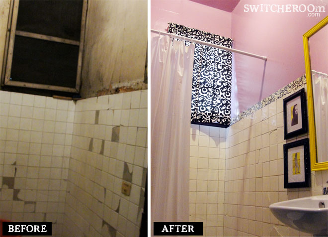 before and after bathroom, pink black bathroom, DIY bathroom, bathroom makeover, switcheroom