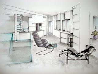 une jeune ambitieuse en architecture d 39 interieur l 39 aquarelle. Black Bedroom Furniture Sets. Home Design Ideas