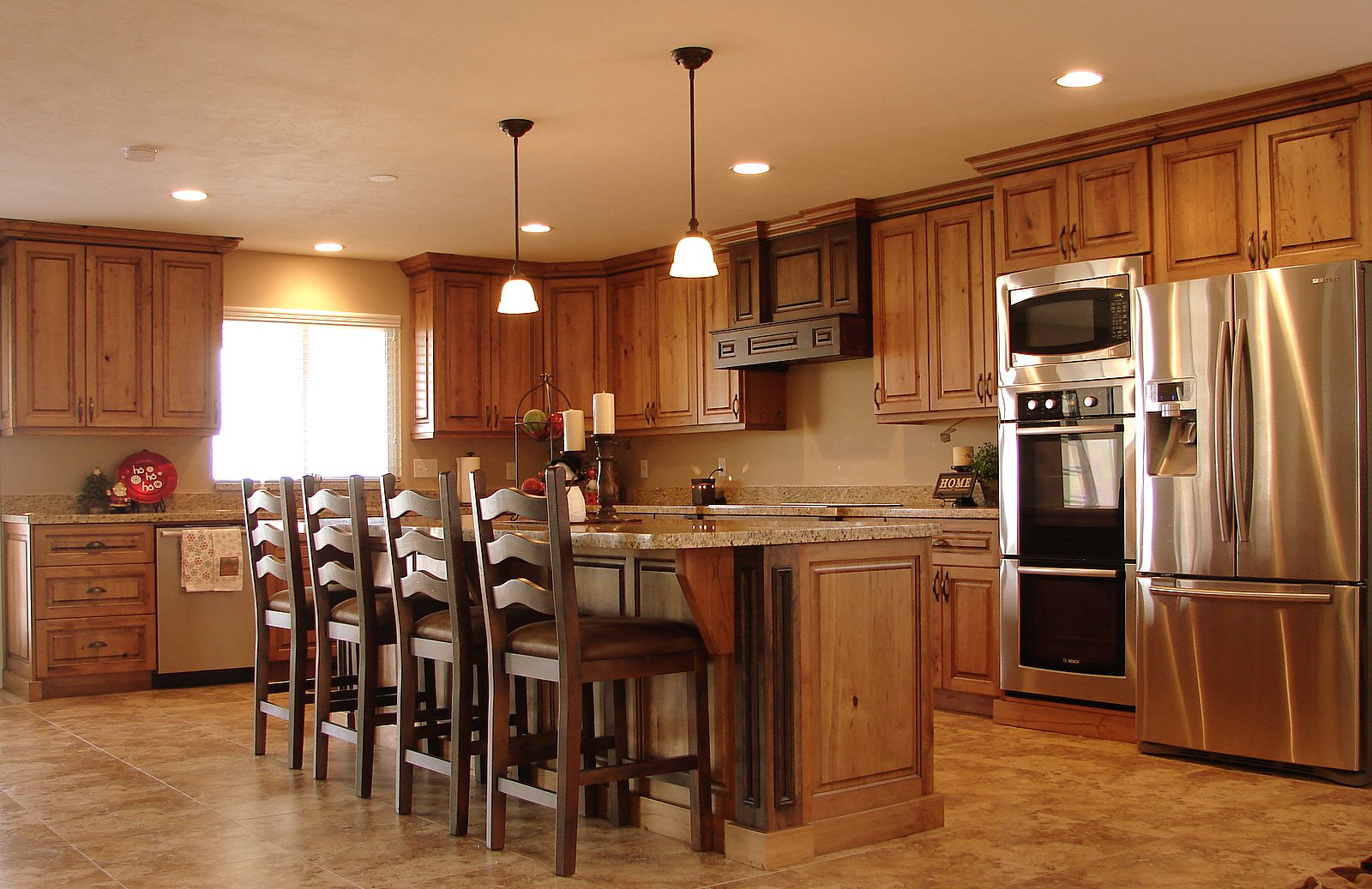 Cherry Kitchen Cabinets Laminate Tile Flooring Lec Rustic
