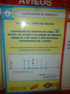 Suspensión del servicio entre Gran Vía y Tirso de Molina
