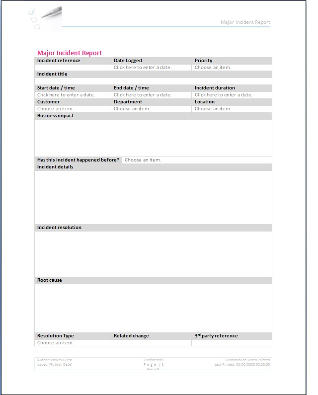 Colorful Itil Incident Management Template Sketch Resume Ideas