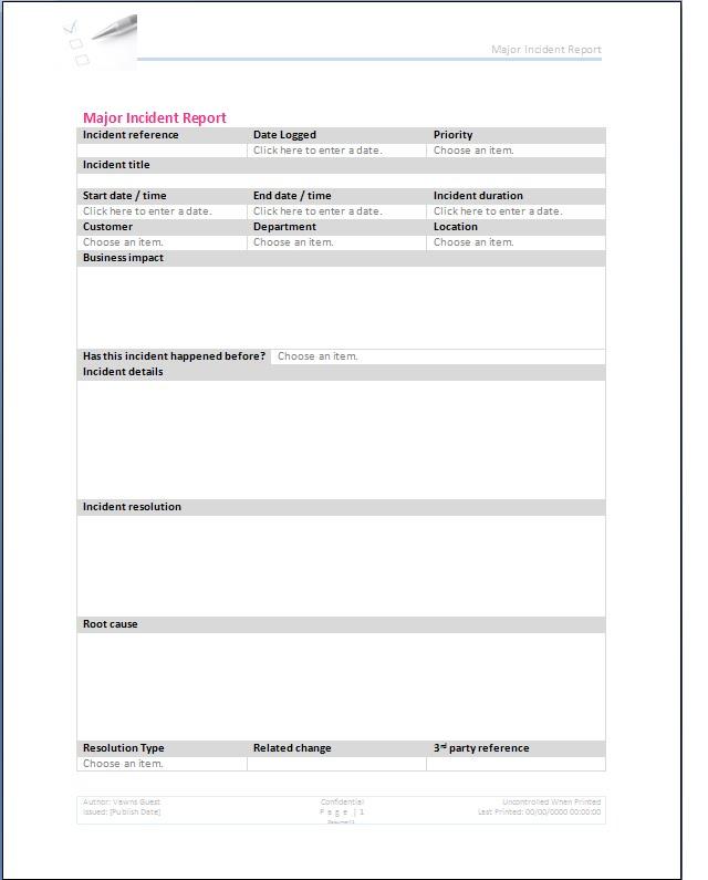 Major Incident Form Template - incident form template