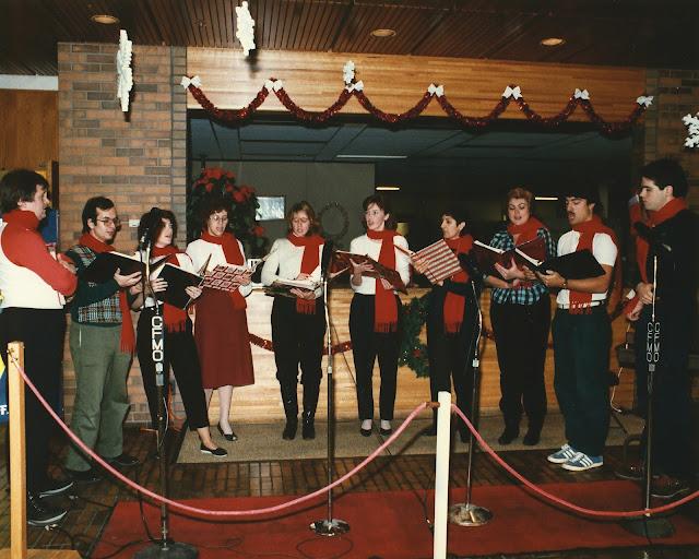 Singing on the radio for CFMO's Christmas Exchange broadcast