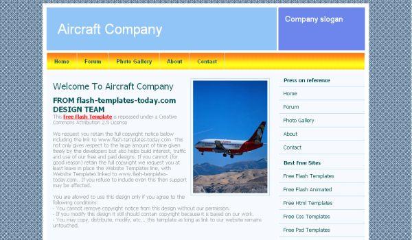 Free Air Craft Blue CSS Website Template