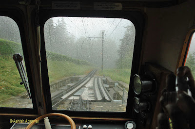 View of the tracks (including out of alignment) from within the furnicular train on Mount Pilatus