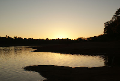 View of the sunset at Pachmarhi Lake