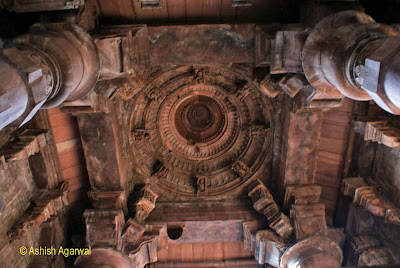 Roof framed between the pillars of the Siva Temple at Bhojpura at Madhya Pradesh
