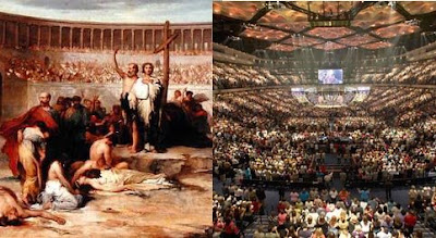 Moving from the arenas to the grandstands: Christianity now & then
