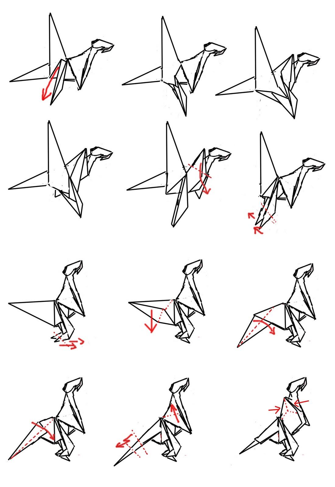 Origami Como Hacer Un Tiranosaurio Rex O Tyrannosaurus Rex
