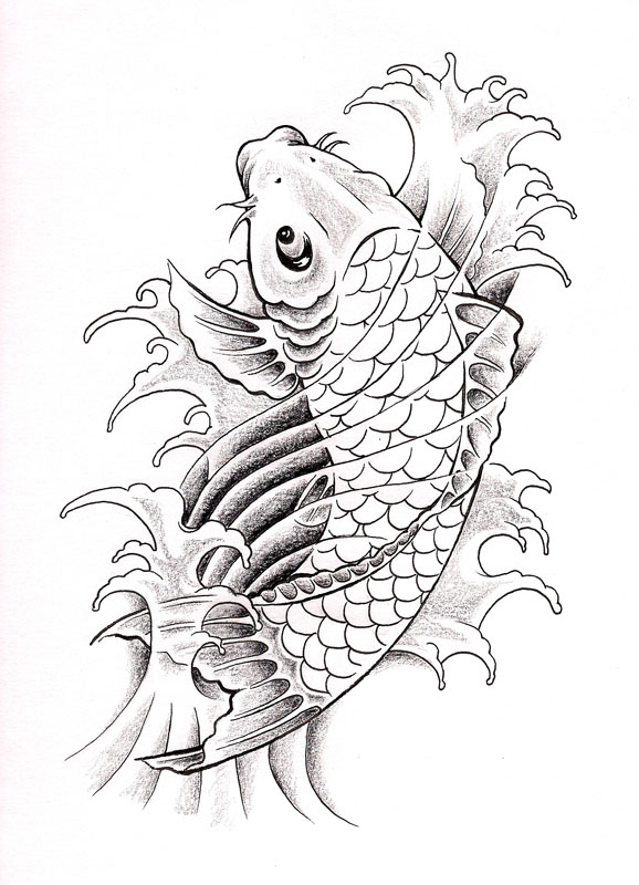 Koi fish drawing outline - photo#49