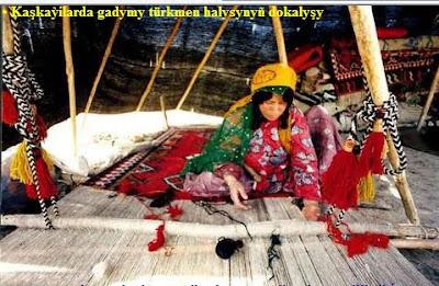 Kaşkaýilarda gadymy türkmen halysynyň dokalyşy