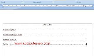 Cara membuat daftar isi word 2007