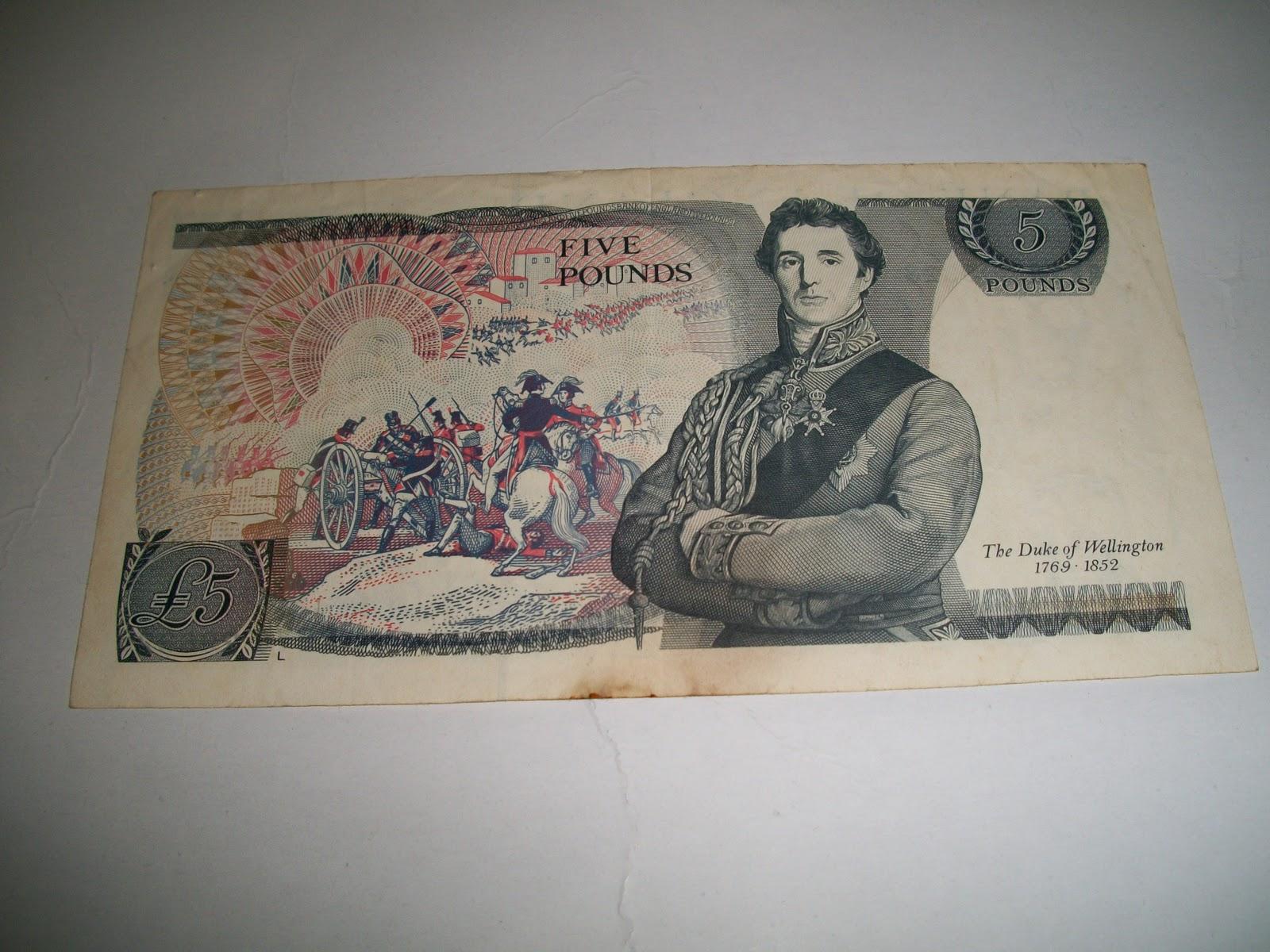 Bank Of England 5 Pounds Queen Elizabeth The Duke Wellington 1769 1852